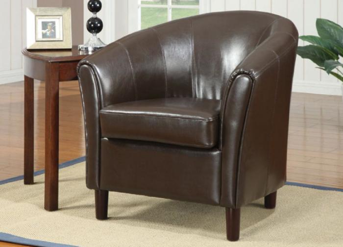 Brown Leather Accent Barrel Chair Coaster
