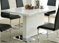 Coaster White Dining Table With Chrome Base